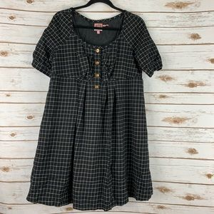 Juicy Couture wool dress size large black plaid